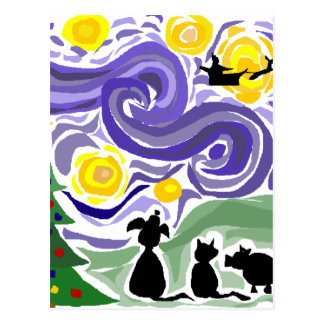Fun Starry Night Style Christmas Art Postcard