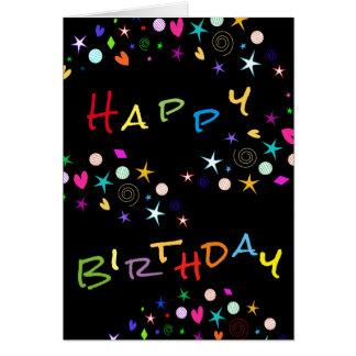 Fun Stars n Hearts on Black Birthday Greeting Card