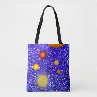 Fun Stars Planets Sparkly Glittery Geeky Science Tote Bag