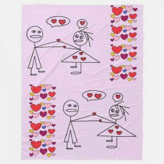 Fun Stick Figure Couples in LOVE Hearts Blanket