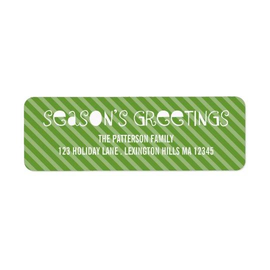 Fun Stripe Season's Greetings Return Address Label