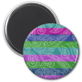 Fun Striped Paisley Print Summer Girly Pattern 6 Cm Round Magnet