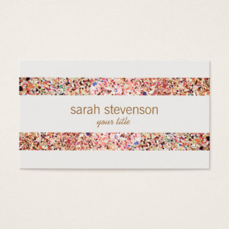 Fun Stripes Colorful Glitter Look Business Card 4