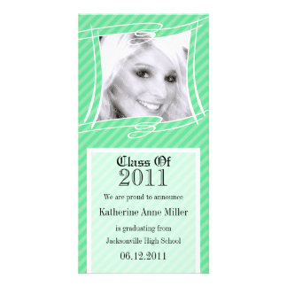 Fun Stripes Green Graduation Photo Card