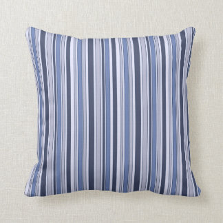 Fun Stripes Pattern in Shades of Blue Throw Cushion