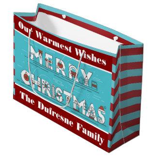 Fun Stripes Personalised Christmas Large Gift Bag