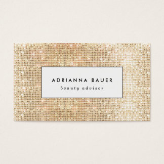 Fun Stylish Faux Gold Sequin Pattern Beauty Spa Business Card