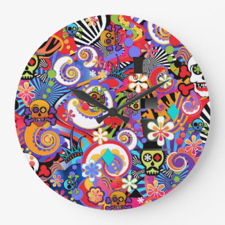 Fun Sugar Skull Clock, Colorful Wall Clock