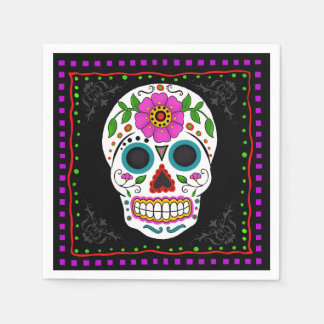 Fun Sugar Skull Napkins, Day of the Dead Disposable Napkin