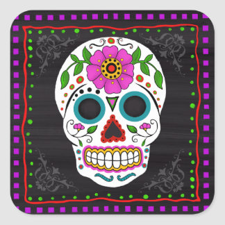 Fun Sugar Skull Stickers, Day of the Dead Square Sticker