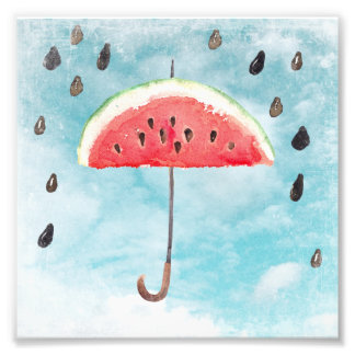 Fun Summer Fresh Melon Fruit Rain Photo Print