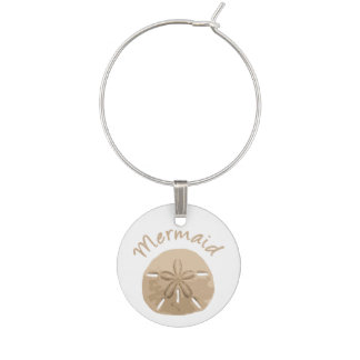 Fun Summer Holiday Mermaid Sand Dollar Art beach Wine Charm