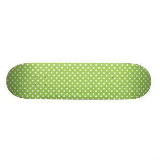 Fun Summer Lime Green and White Polka Dot Pattern Custom Skateboard