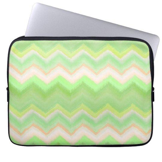 Fun Summer Orange Lime Green Ikat Zigzag Pattern Laptop Sleeve