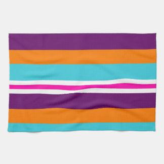Fun Summer Pink Teal Orange Purple Striped Pattern Tea Towel