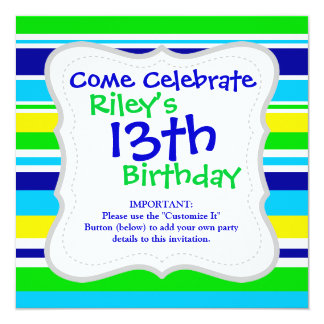 Fun Summer Striped Teal Lime Yellow Blue Gifts 13 Cm X 13 Cm Square Invitation Card