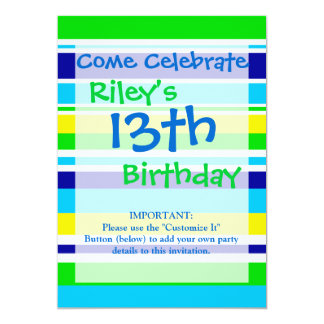 Fun Summer Striped Teal Lime Yellow Blue Gifts 13 Cm X 18 Cm Invitation Card