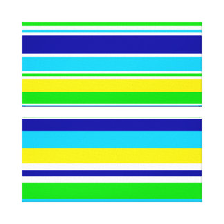 Fun Summer Striped Teal Lime Yellow Blue Gifts Gallery Wrapped Canvas