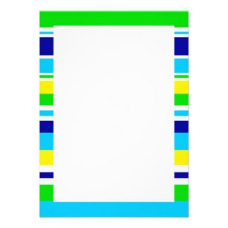 Fun Summer Striped Teal Lime Yellow Blue Gifts Custom Announcements