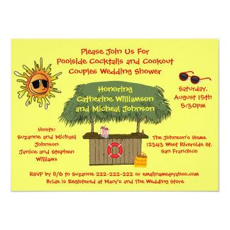 Fun Summer Tiki Hut Cookout Couples Bridal Shower Card