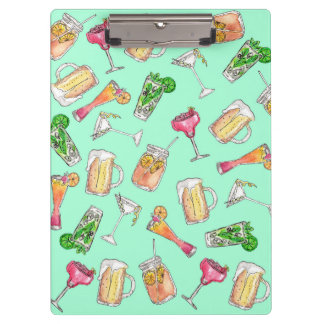 Fun Summer Watercolor Painted Mixed Drinks Pattern Clipboard