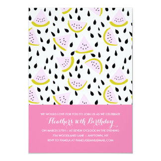 Fun Summer Watermelon Custom Colors Birthday Party 13 Cm X 18 Cm Invitation Card
