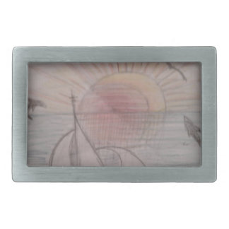 Fun sun blue rectangular belt buckle