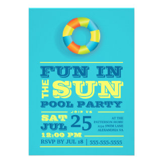 Fun Sun Pool Party Colorful Retro Invitation