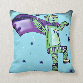 Fun Superhero Robot Throw Pillow