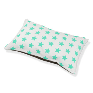 Fun Teal Stars Pattern Indoor Dog Bed - Small
