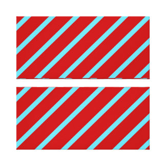 Fun Teal Turquoise Red Diagonal Stripes Gifts Stretched Canvas Print