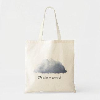 "Fun, ""The storm comes!"", cloud Tote Bag"