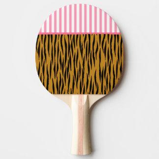 Fun Tiger Print with Pink Trim & Stripes Ping Pong Paddle