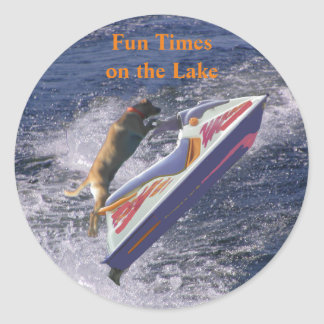 Fun Times on the Lake Cool Lab Classic Round Sticker