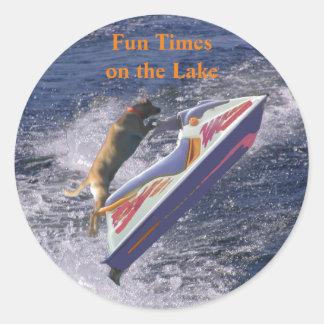 Fun Times on the Lake Cool Labrador Round Sticker