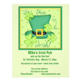 Fun to be Irish Business Promotion Custom Personalized Flyer