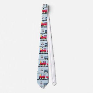 Fun Train pattern mens tie