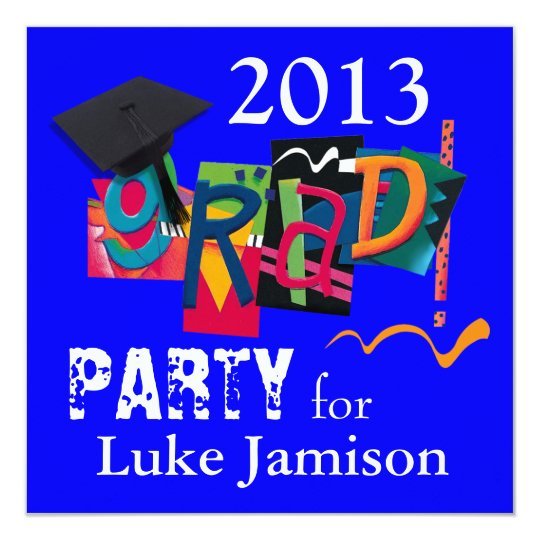 Fun Trendy Modern 2013 Grad Bowling Party | blue Card
