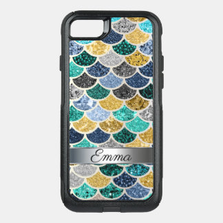 Fun Trendy Multicolor Mermaid Tail Scales Silver OtterBox Commuter iPhone 8/7 Case