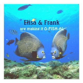 Fun Tropical Fish Love Wedding Invitation Custom Invitations