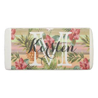 Fun Tropical Pineapple Fruit Floral Stripe Pattern Eraser