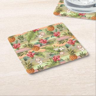Fun Tropical Pineapple Fruit Floral Stripe Pattern Square Paper Coaster