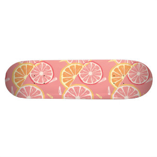 Fun Tropical Pink grapefruit and lemon pattern 19.7 Cm Skateboard Deck