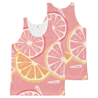 Fun Tropical Pink grapefruit and lemon pattern All-Over Print Singlet