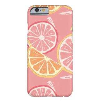 Fun Tropical Pink grapefruit and lemon pattern Barely There iPhone 6 Case