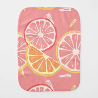Fun Tropical Pink grapefruit and lemon pattern Burp Cloth