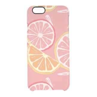 Fun Tropical Pink grapefruit and lemon pattern Clear iPhone 6/6S Case