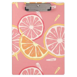 Fun Tropical Pink grapefruit and lemon pattern Clipboards