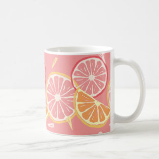 Fun Tropical Pink grapefruit and lemon pattern Coffee Mug