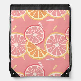 Fun Tropical Pink grapefruit and lemon pattern Drawstring Bag
